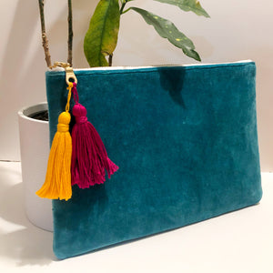 Bright Teal Velvet Tassel Clutch
