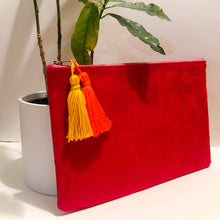 Load image into Gallery viewer, Red Velvet Tassel Clutch