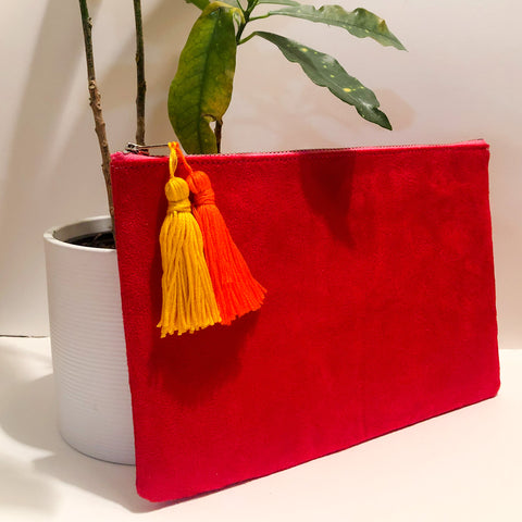 Red Velvet Tassel Clutch