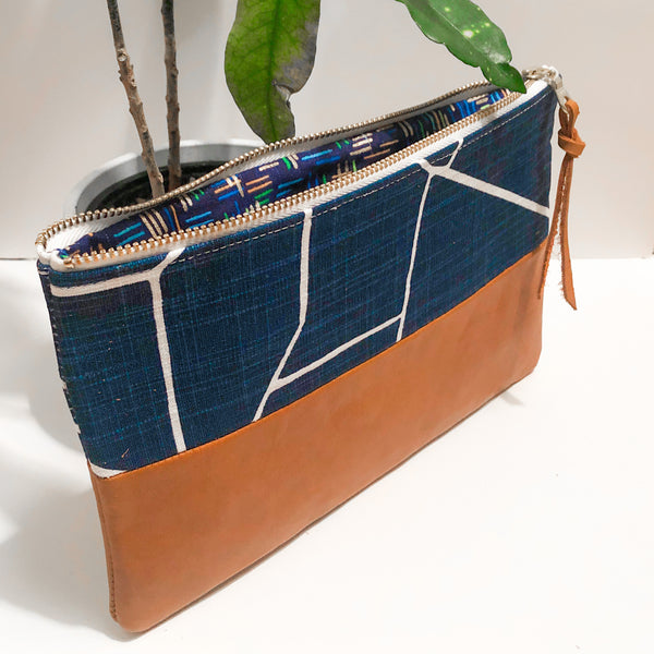 Small Fabric and Leather Split Clutch (Navy Blue Abstract Lines)
