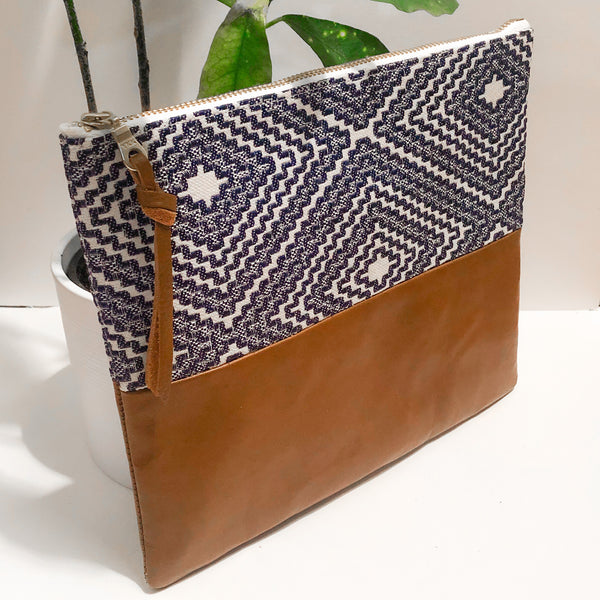 Fabric and Leather Split Clutch (Blue and Brown)