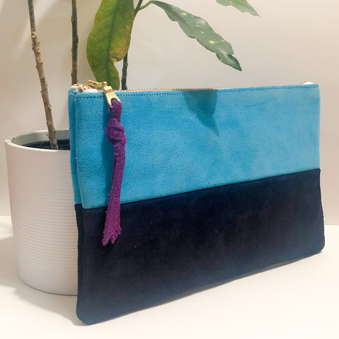 The Color-Block (Bright Blue and Navy Suede)