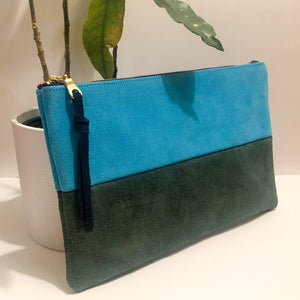The Color-Block (Bright Blue and Forest Green Suede)
