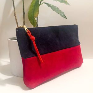 The Color-Block (Navy Blue and Red Suede)
