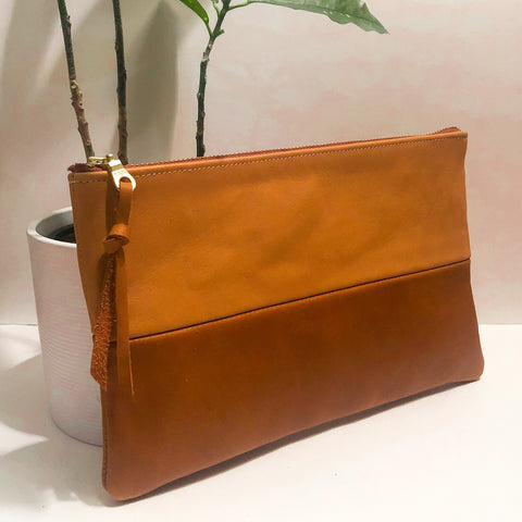 The Color-Block (Caramel and Sienna Brown Leather)