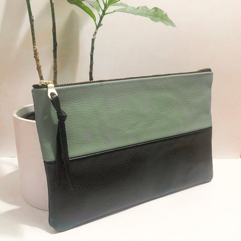 The Color-Block (Blue-Green Gray and Black Leather)