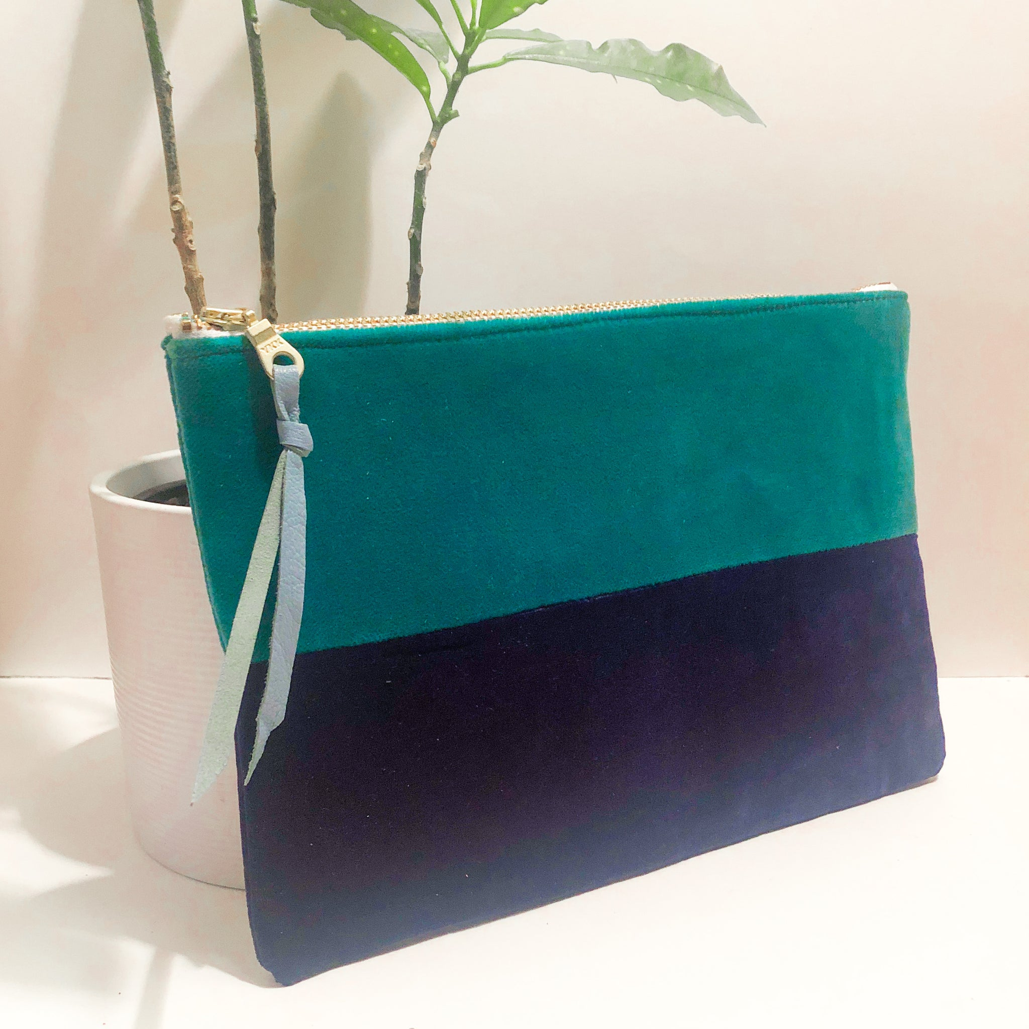 The Color-Block (Teal and Navy Blue Velvet)