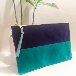The Color-Block (Navy Blue and Teal Velvet)