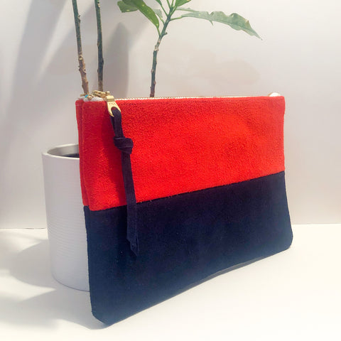 The Color-Block (Strawberry and Navy Blue Suede)