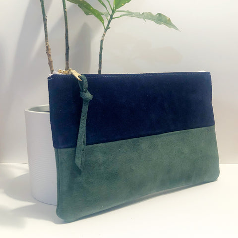 The Color-Block (Navy Blue and Forest Green Suede)
