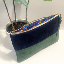 Load image into Gallery viewer, The Color-Block (Navy Blue and Forest Green Suede)