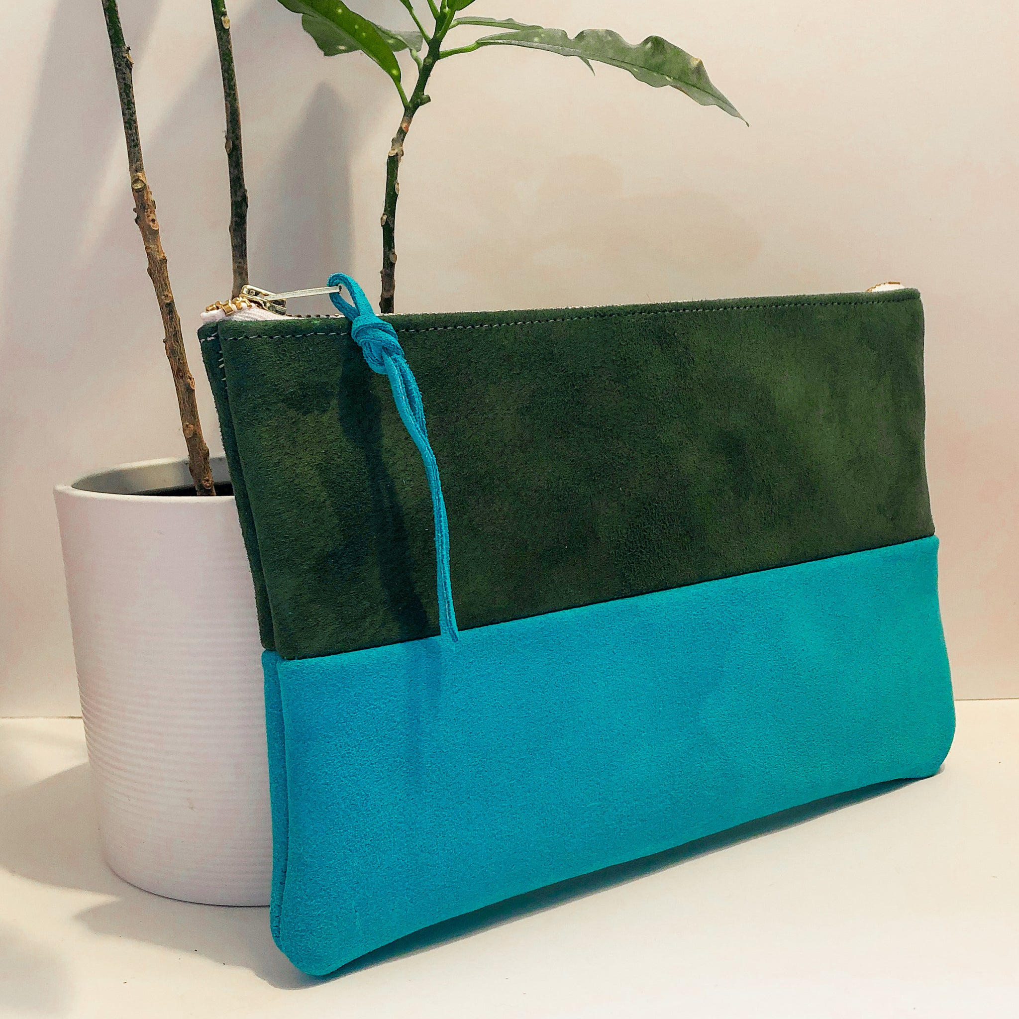 The Color-Block (Forest Green and Bright Blue Suede)