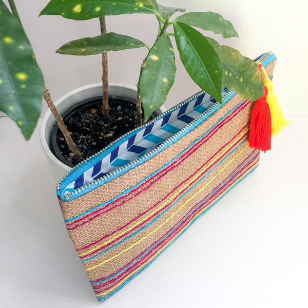 Multi-colored Stripes Embroidered Fabric and Leather Clutch