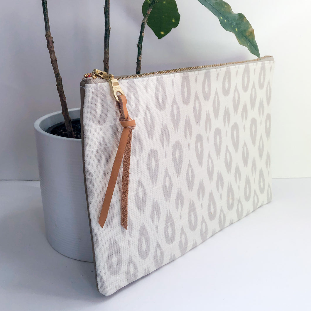Half-and-Half Leather and Fabric Clutch (Ivory Cheetah Print)