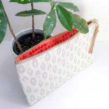 Load image into Gallery viewer, Half-and-Half Leather and Fabric Clutch (Ivory Cheetah Print)