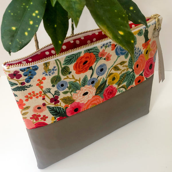 Fabric and Leather Split Clutch (Pink Floral)