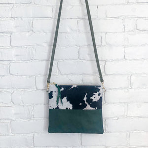 Crossbody Leather Bag (Cow Hair, Green)