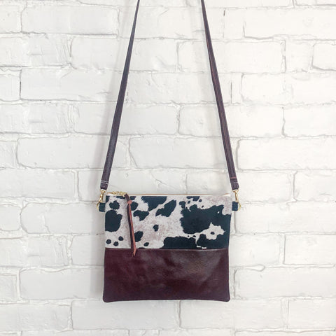 Crossbody Leather Bag (Cow Hair, Maroon)