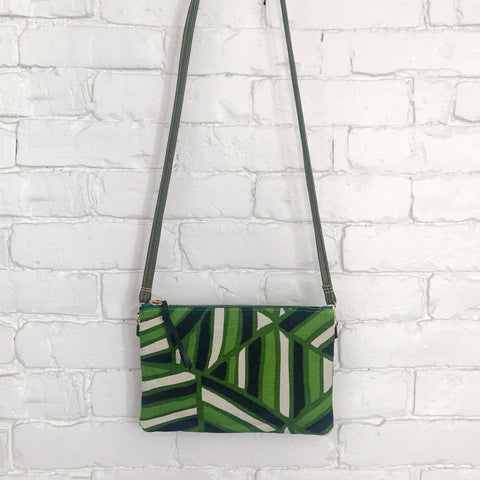 Crossbody Leather Bag (with Green, Black, and White Fabric)