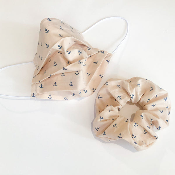 Face Mask and Scrunchie Set (Cream Anchors)