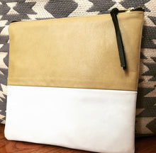 Load image into Gallery viewer, Two Tone Leather Clutch (Tan and White/Black)