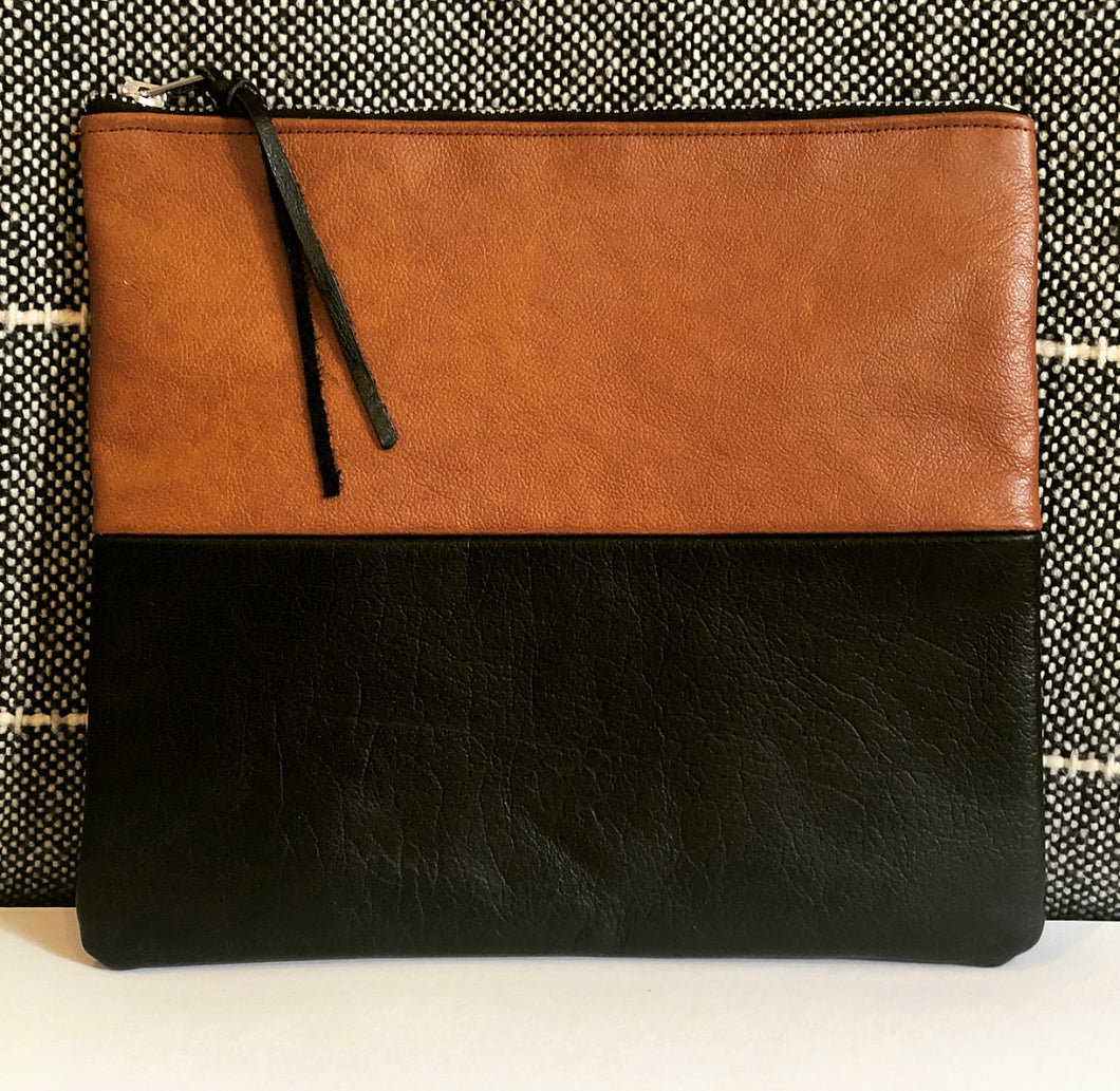Two Tone Leather Clutch (Brown and Black)