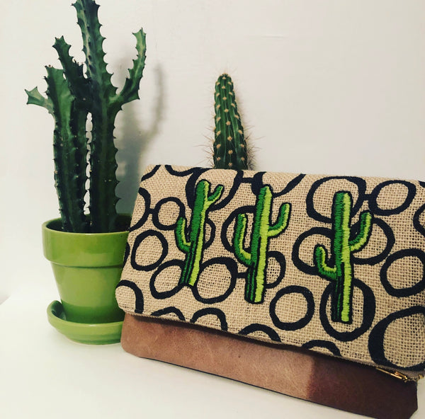 Cacti Embroidered Leather and Fabric Foldover Clutch