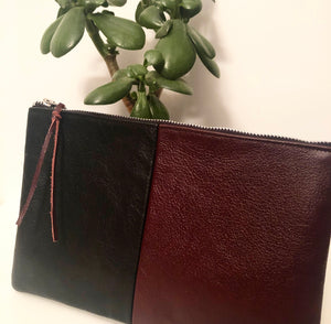 "Two Tone ""Blocked"" Leather Clutch (Maroon and Black)"