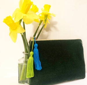 Green Velvet Tassel Clutch