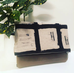 Leather and Fabric Foldover Clutch (Black and Tan Brushed Squares)