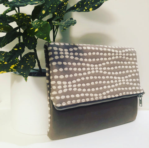 Leather and Fabric Foldover Clutch (Gray and White Dots with Taupe)
