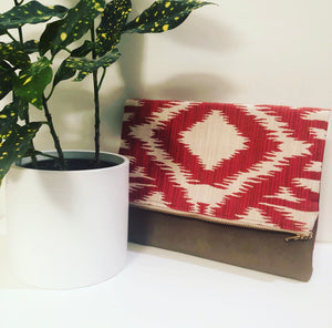 Leather and Fabric Foldover Clutch (Red, White and Taupe)