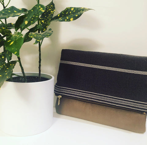 Leather and Fabric Foldover Clutch (Gray Striped and Taupe)