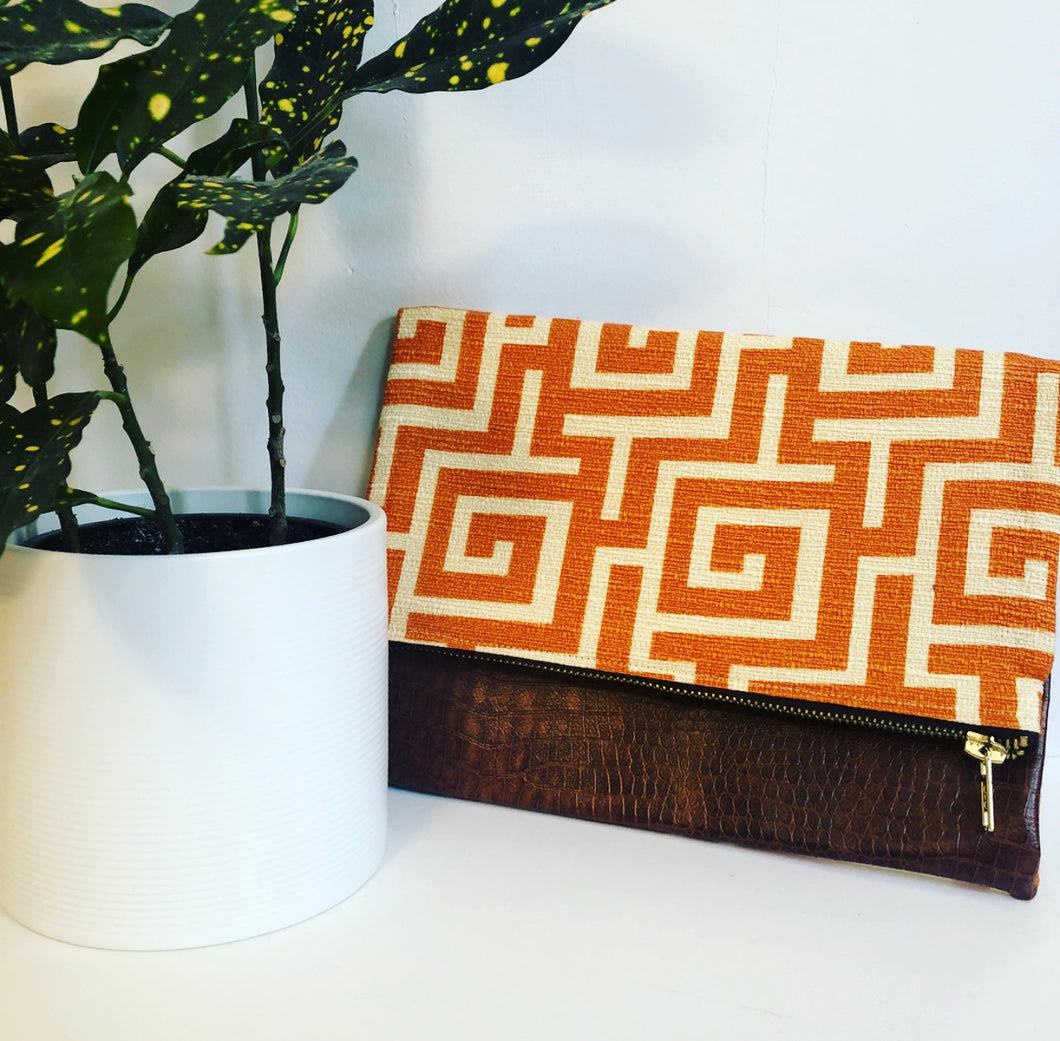 Faux Leather and Fabric Foldover Clutch (Orange and Brown)