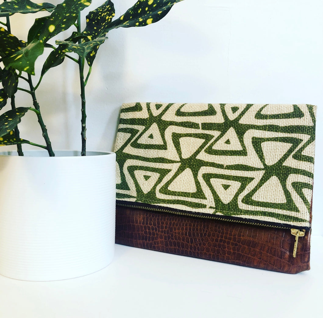 Faux Leather and Fabric Foldover Clutch (Green Burlap and Brown)