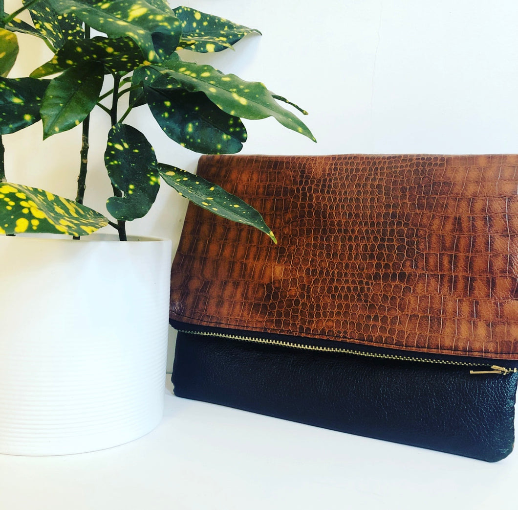 Faux Leather and Fabric Foldover Clutch (Brown and Black)