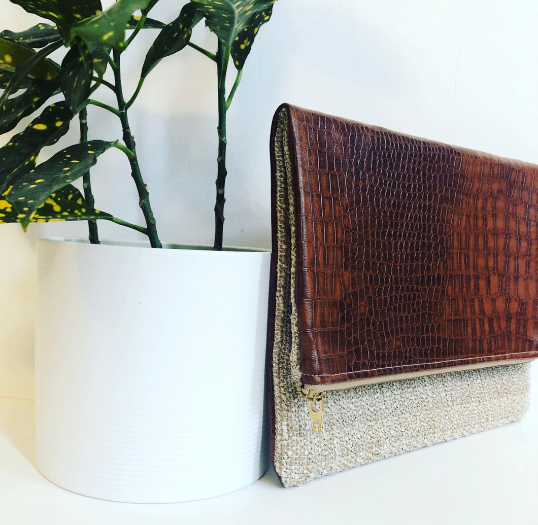 Faux Leather and Fabric Foldover Clutch (Brown and Woven Tan)