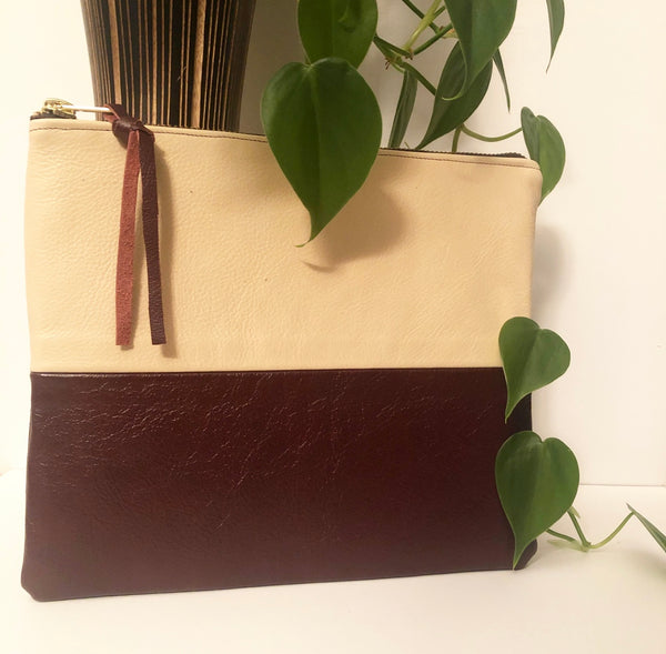 Two Tone Leather Clutch (Beige and Maroon)