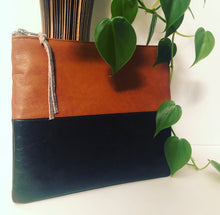 Load image into Gallery viewer, Two Tone Leather Clutch (Brown and Black)