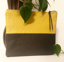 Load image into Gallery viewer, Two Tone Leather Clutch (Mustard and Slate)