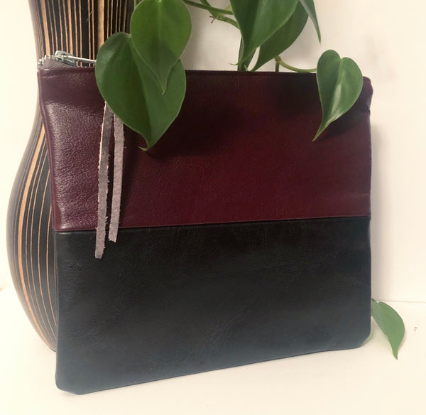Two Tone Leather Clutch (Maroon and Black)