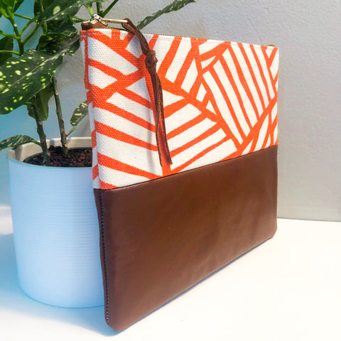 Fabric and Leather Split Clutch (Orange and White)