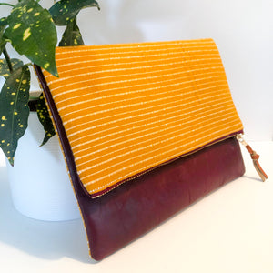 Leather and Fabric Foldover Clutch (Yellow Striped and Maroon)