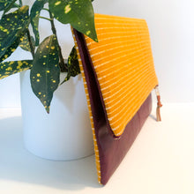 Load image into Gallery viewer, Leather and Fabric Foldover Clutch (Yellow Striped and Maroon)