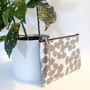 The Mini Pouch (Gray and White Spots)