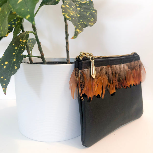 The Mini Pouch (Black Feathered)