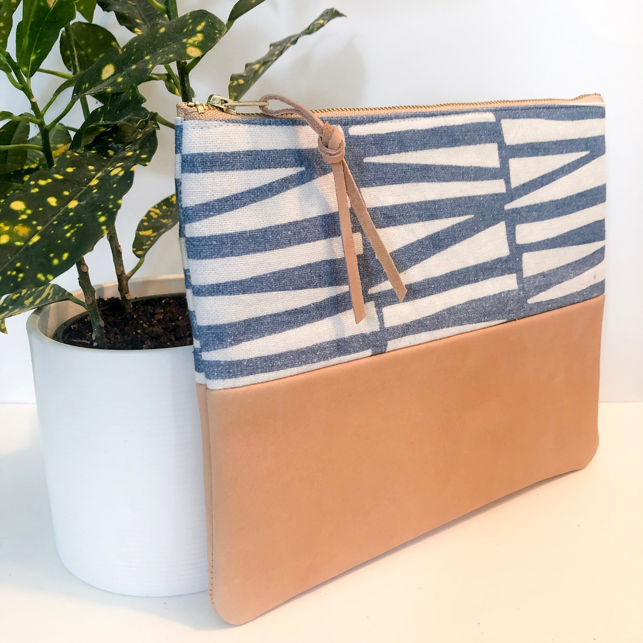 Fabric and Leather Split Clutch (Blue/White and Light Camel)