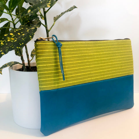 Small Fabric and Leather Split Clutch (Green and Blue)