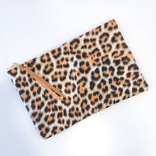 Load image into Gallery viewer, Half-and-Half Leather and Fabric Clutch (Light Cheetah)