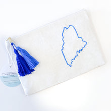 Load image into Gallery viewer, Maine Embroidered Fabric and Leather Clutch (Blue)